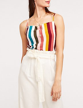 Striped Square Neck Tank Top