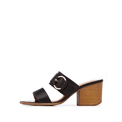 Two Strap O Ring Slide Sandals
