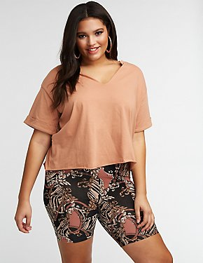 Plus Size Slit Cut Crop Tee