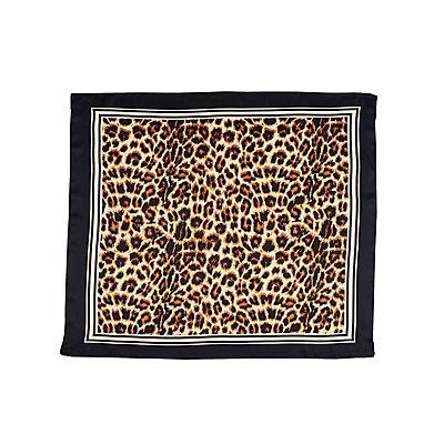 Satin Leopard Print Scarf