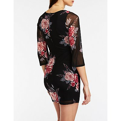 Floral V Wired Bodycon Dress