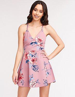 V Neck Floral Skater Dress