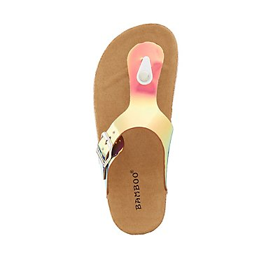 Bamboo Holographic Slide Sandals