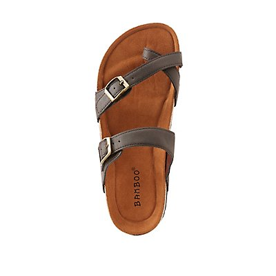 Bamboo Faux Leather Slide Sandals