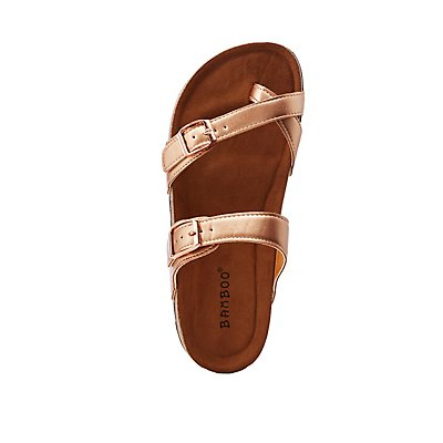 Bamboo Metallic Slide Sandals