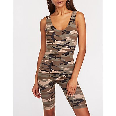 Camo Print Bike Short Romper