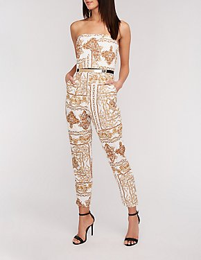 Status Print Metal Belt Jumpsuit