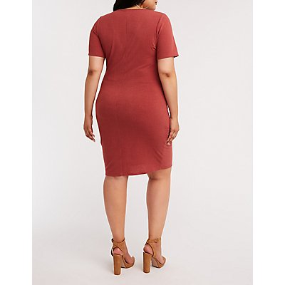 Plus Size Ribbed Button Front Dress