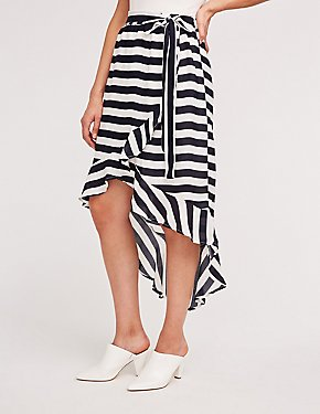 Striped Hi Low Wrap Skirt