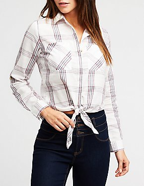 Plaid Front Tie Button Up Shirt