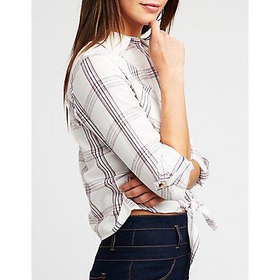 Plaid Front Tie Button Up Shirt