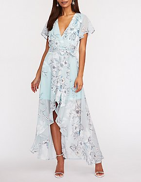 Floral Mesh Hi Low Maxi Dress