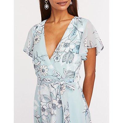 Floral Mesh Hi Low Maxi Dress