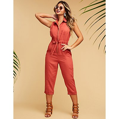 Collared Zip Front Jumpsuit