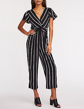 Striped Twist Front Crop Jumpsuit