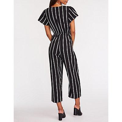 Striped Twist Front Crop Jumpsuit
