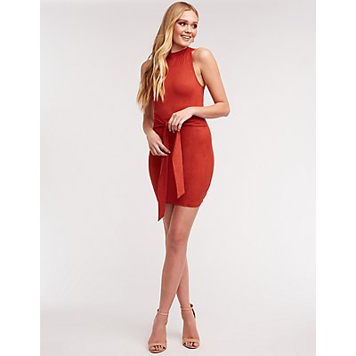 Mock Neck Tie Front Dress