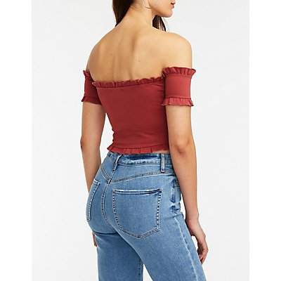 Lace Up Off The Shoulder Top