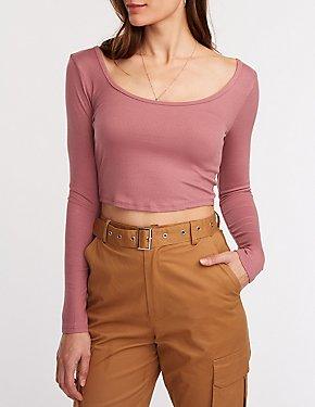 Scoop Neck Ribbed Crop Tee