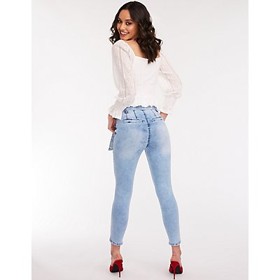 High Waist Self Tie Skinny Jeans