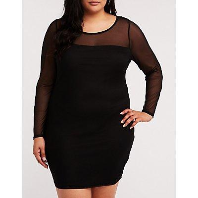 Plus Size Mesh Bodycon Dress