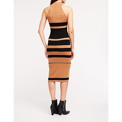 Striped Mock Neck Sweater Dress