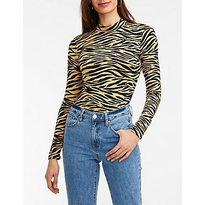 Zebra Print Mock Neck Bodysuit