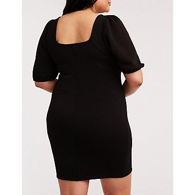 Plus Size Puffed Sleeve Bodycon Dress