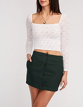 Woven Button Up Mini Skirt