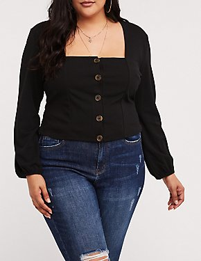 Plus Size Square Neck Button Up Top