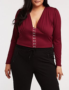 Plus Size Ribbed Hook And Eye Crop Top