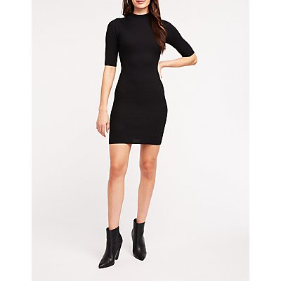 Ribbed Mock Neck Sweater Dress