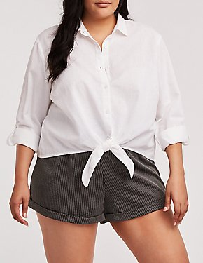 Plus Size Front Tie Linen Top