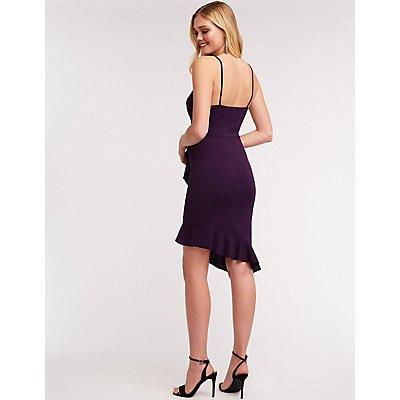 Wrap Ruffle Asymmetrical Dress