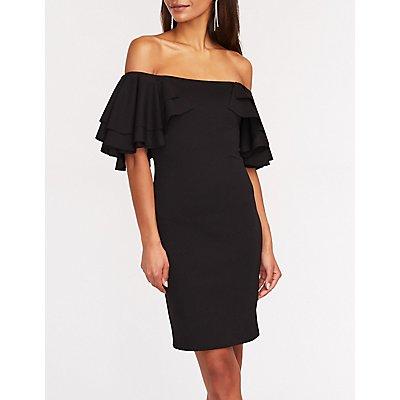 Off The Shoulder Ruffle Sleeve Dress
