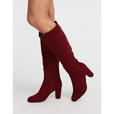 Faux Suede Almond Toe Boots