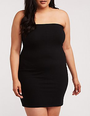 Plus Size Tube Mini Bodycon Dress