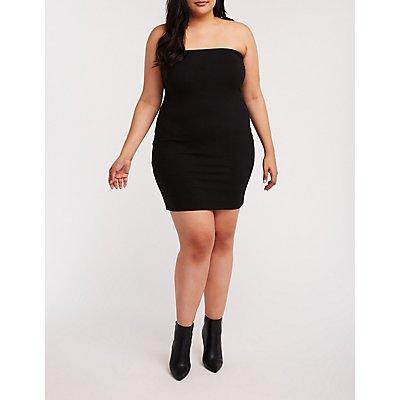 Plus Size Tube Mini Bodycon Dress
