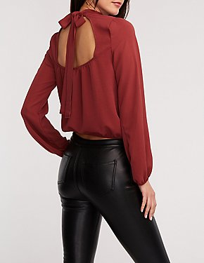 Mock Neck Self Tie Blouse