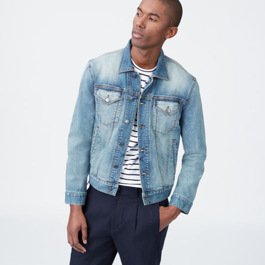Men Outerwear Light Wash Denim Jacket Club Monaco