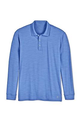 Men 39 s long sleeve uv polo shirts sun protective clothing for Sun protection golf shirts