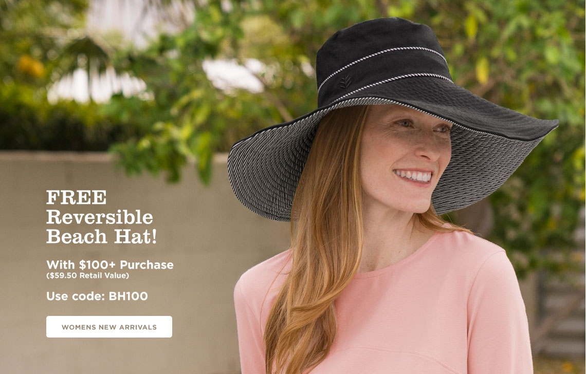 Free Reversible Beach Hat w/ $100 Min. Purchase - use code BH100