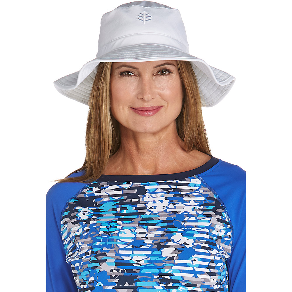 12859f5a350 Coolibar UPF 50 Women s Chlorine Resistant Bucket Hat Small White. About  this product. Picture 1 of 2  Picture 2 of 2