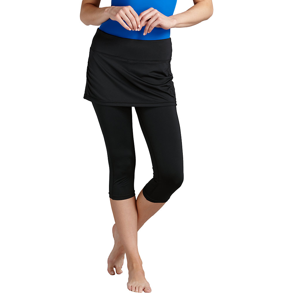 46927e3107b Coolibar UPF 50 Womens Skirted Swim Capris - Sun Protective Large Black.  About this product. Picture 1 of 3  Picture 2 of 3 ...