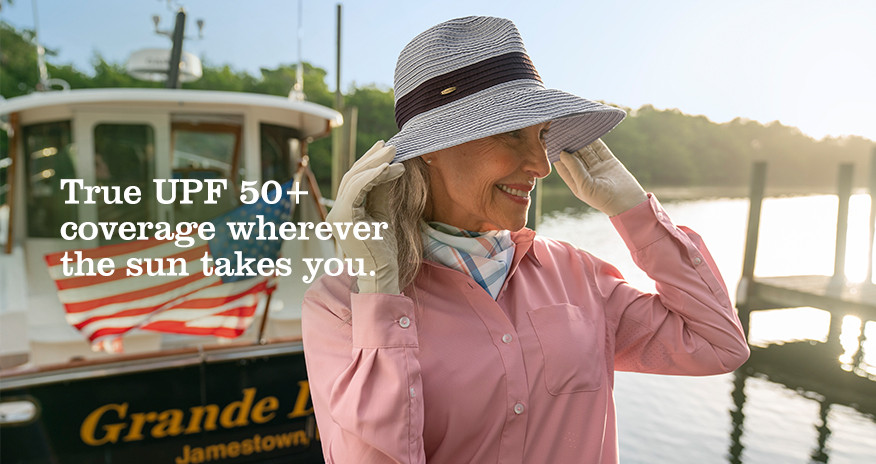 True UPF 50+ coverage wherever the sun takes you.
