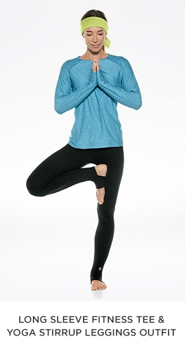 Long Sleeve Fitness Tee & Yoga Stirrup Leggings Outft