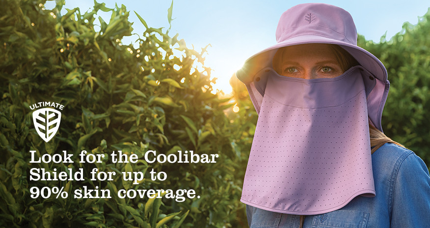 Look for the Coolibar Shield for up to 90% skin coverage.