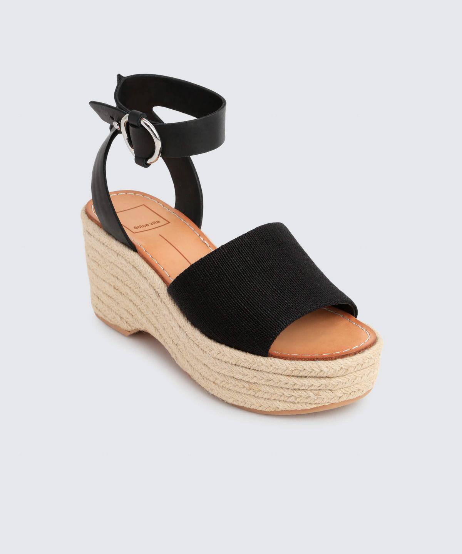 Dolce Vita Lesly Leather Platform Espadrille Sandals 4vc3s4k96