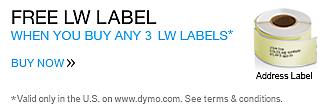 Buy 3 LabelWriter Labels Get a LW Address Label For Free. Valid only in the U.S. on www.dymo.com. Offer expires Dec 31, 2014.