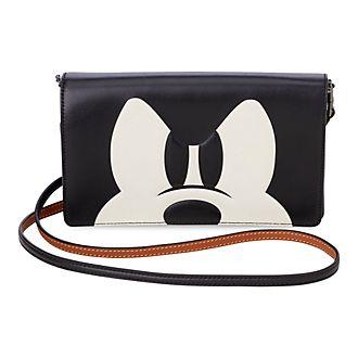 Bolso clutch tipo bandolera con solapa Mickey Mouse, COACH